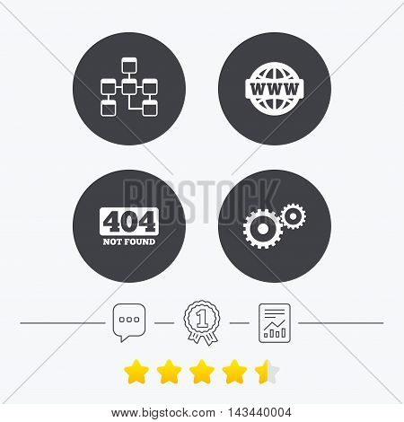 Website database icon. Internet globe and gear signs. 404 page not found symbol. Under construction. Chat, award medal and report linear icons. Star vote ranking. Vector