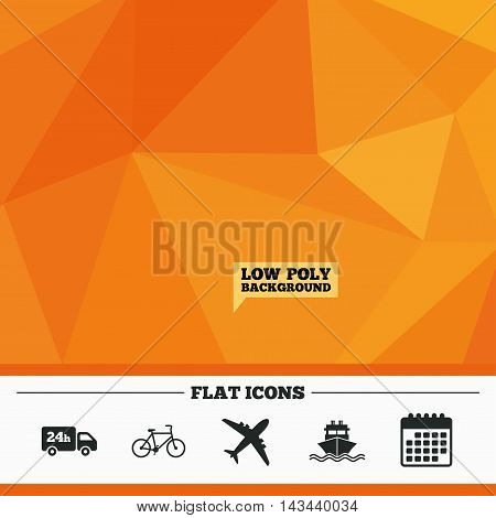 Triangular low poly orange background. Cargo truck and shipping icons. Shipping and eco bicycle delivery signs. Transport symbols. 24h service. Calendar flat icon. Vector