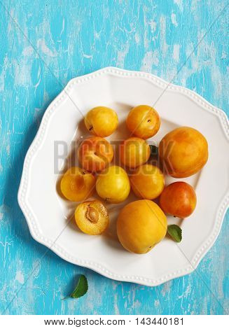 Stone fruits on plate. Yellow plums apricots and nectarines