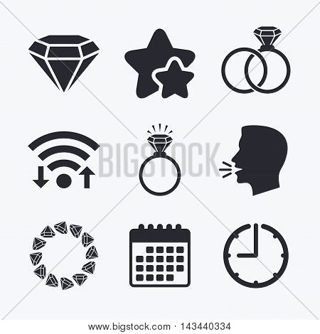Rings icons. Jewelry with shine diamond signs. Wedding or engagement symbols. Wifi internet, favorite stars, calendar and clock. Talking head. Vector