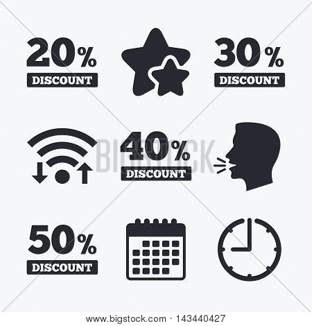Sale discount icons. Special offer price signs. 20, 30, 40 and 50 percent off reduction symbols. Wifi internet, favorite stars, calendar and clock. Talking head. Vector