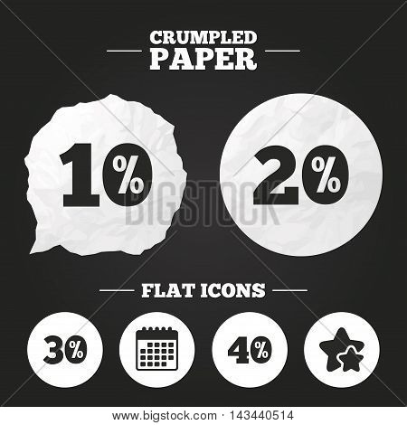 Crumpled paper speech bubble. Sale discount icons. Special offer price signs. 10, 20, 30 and 40 percent off reduction symbols. Paper button. Vector