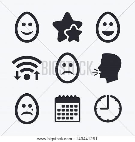 Eggs happy and sad faces icons. Crying smiley with tear symbols. Tradition Easter Pasch signs. Wifi internet, favorite stars, calendar and clock. Talking head. Vector