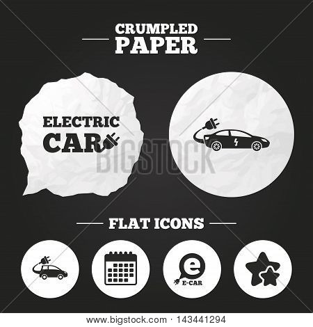 Crumpled paper speech bubble. Electric car icons. Sedan and Hatchback transport symbols. Eco fuel vehicles signs. Paper button. Vector