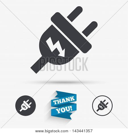 Electric plug sign icon. Power energy symbol. Lightning sign. Flat icons. Buttons with icons. Thank you ribbon. Vector