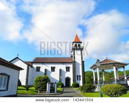 Church of Our Lady of Joy in Furnas Portugal. The church with garden on San Miguel Island in Azores.
