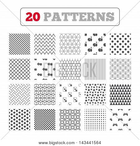 Ornament patterns, diagonal stripes and stars. Bowling and Casino icons. Video game joystick and playing card with dice symbols. Entertainment signs. Geometric textures. Vector