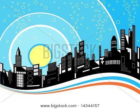 Editable vector illustration of a city skyline