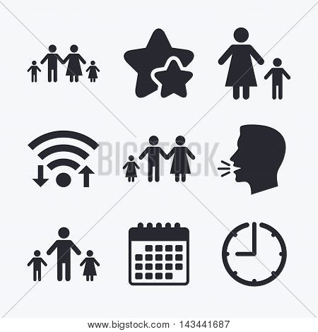 Family with two children icon. Parents and kids symbols. One-parent family signs. Mother and father divorce. Wifi internet, favorite stars, calendar and clock. Talking head. Vector