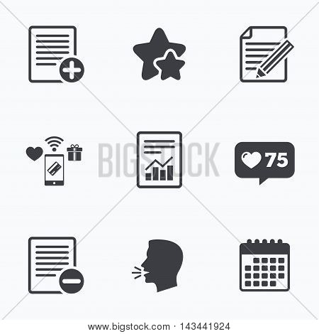 File document icons. Document with chart or graph symbol. Edit content with pencil sign. Add file. Flat talking head, calendar icons. Stars, like counter icons. Vector