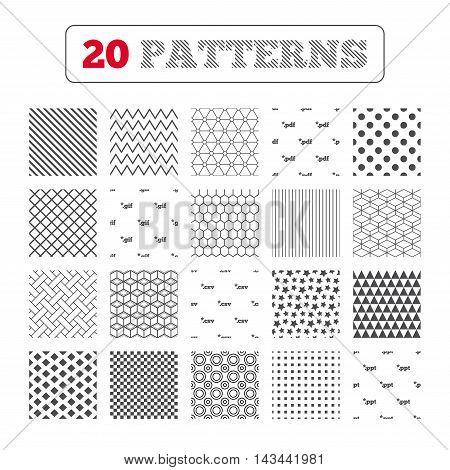 Ornament patterns, diagonal stripes and stars. Document icons. File extensions symbols. PDF, GIF, CSV and PPT presentation signs. Geometric textures. Vector