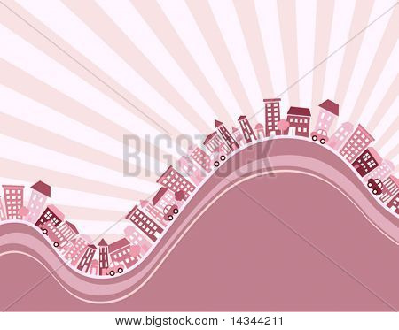 Editable vector illustration of a hilly town with copy-space