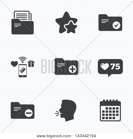 Accounting binders icons. Add or remove document folder symbol. Bookkeeping management with checkbox. Flat talking head, calendar icons. Stars, like counter icons. Vector