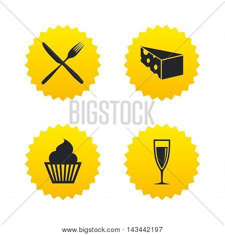 Food icons. Muffin cupcake symbol. Fork and knife sign. Glass of champagne or wine. Slice of cheese. Yellow stars labels with flat icons. Vector