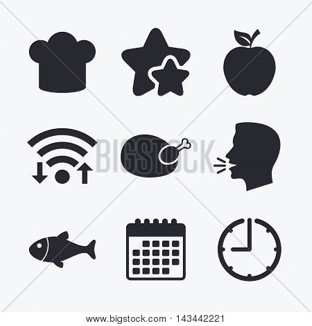 Food icons. Apple fruit with leaf symbol. Chicken hen bird meat sign. Fish and Chef hat icons. Wifi internet, favorite stars, calendar and clock. Talking head. Vector