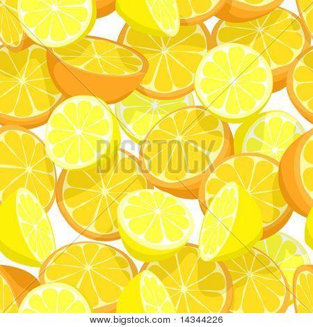 Seamless editable vector tile of lemons and oranges