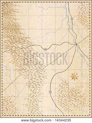Bearbeitbare Vektor-Illustration einer alten generische Karte mit keine Namen