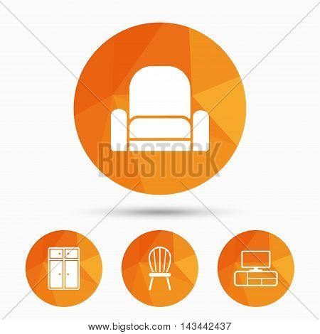 Furniture icons. Cupboard, chair and TV table signs. Modern armchair symbol. Triangular low poly buttons with shadow. Vector
