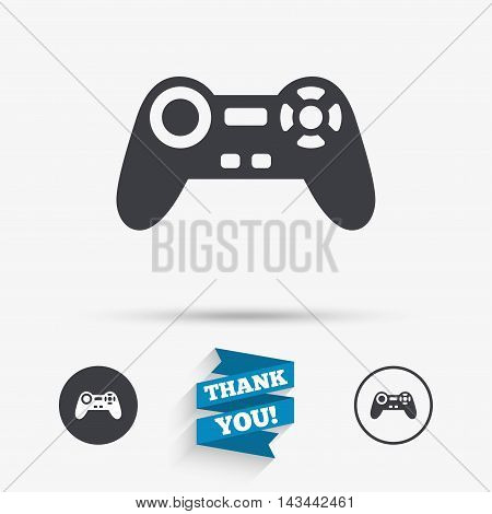Joystick sign icon. Video game symbol. Flat icons. Buttons with icons. Thank you ribbon. Vector