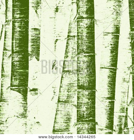 Editable vector illustration of bamboo stems and grunge