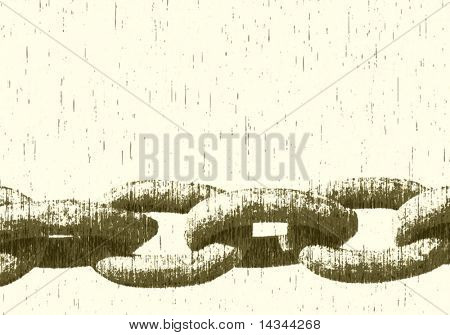 Editable vector illustration of a heavy chain with grunge