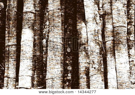 Editable vector illustration of tree trunks and grunge