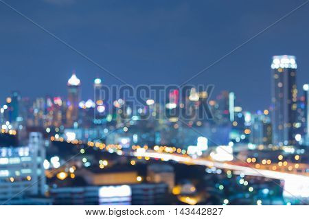 Blurred lights night view city road, abstract background