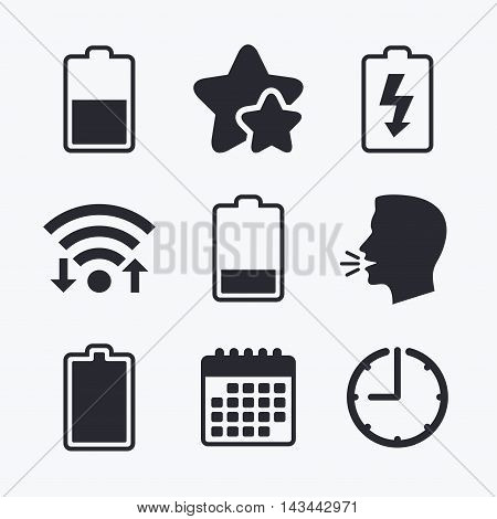Battery charging icons. Electricity signs symbols. Charge levels: full, half and low. Wifi internet, favorite stars, calendar and clock. Talking head. Vector