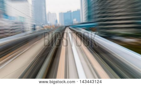Blurred motion moving high speed train inside tunnel, Tokyo Japan, abstract background