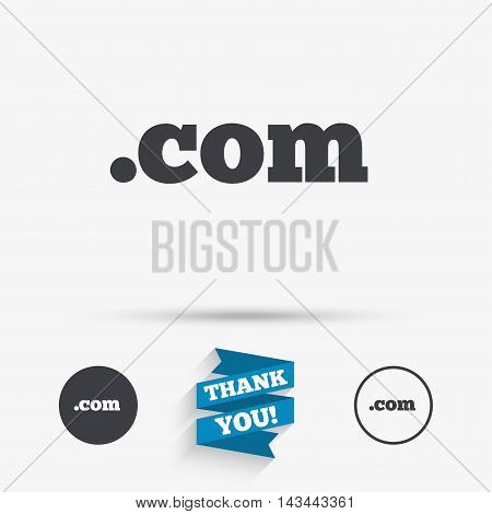 Domain COM sign icon. Top-level internet domain symbol. Flat icons. Buttons with icons. Thank you ribbon. Vector