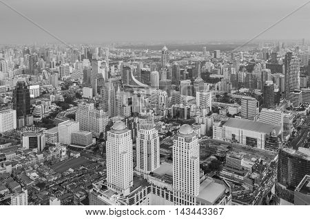 Black and White, Central business office building aerial view with clear blue sky background
