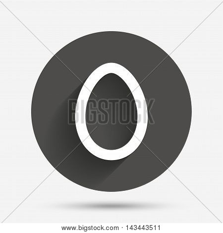 Easter egg sign icon. Easter tradition symbol. Circle flat button with shadow. Vector