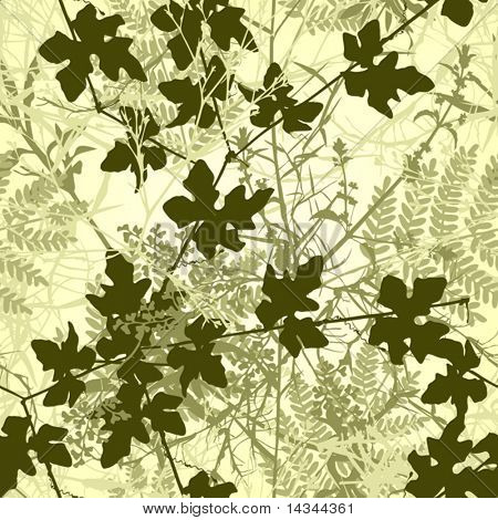 Editable vector seamless tile of tangled plants