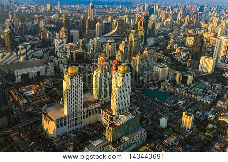 Aerial view city business district with blue sky background