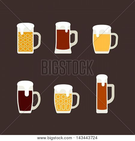 Icons set of beer mugs. Vector illustration