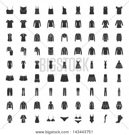 Black clothes icons. Vector set of icons clothes for men and women