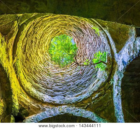DILIJAN ARMENIA - MAY 31 2016: The tree rises through the hole in the stone dome of Matosavank Church on May 31 in Dilijan.