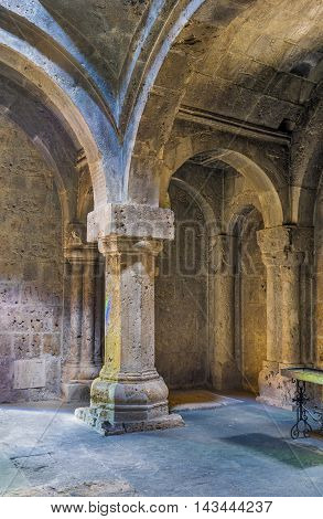 DILIJAN ARMENIA - MAY 31 2016: The interior of renovated Refectory in Haghartsin Monastery on May 31 in Dilijan.