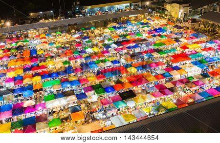 Aerial view of colourful Bangkok night Flea market, Thailand