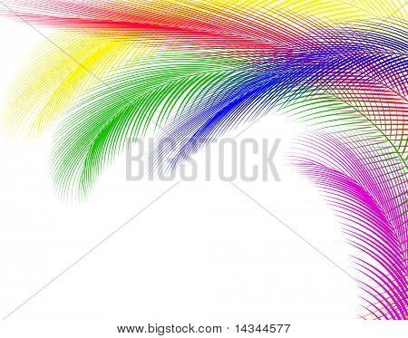 Abstract illustration of colorful feathers