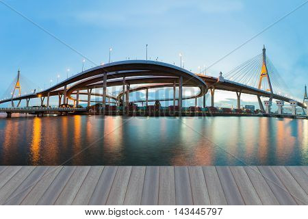 Opening wooden floor, Panorama and reflection view over Twin Suspension Bridge during sunset, landmark of Bangkok Thailand