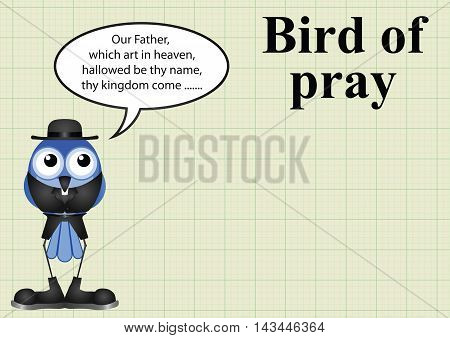 Comical bird of pray vicar on graph paper background with copy space for own text