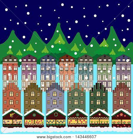 Winter city flat landscape. Colored raster illustration