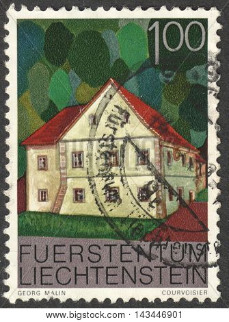 MOSCOW RUSSIA - CIRCA JULY 2016: a stamp printed in LIECHTENSTEIN shows a traditional local house the series