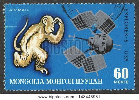 MOSCOW RUSSIA - CIRCA JUNE 2016: a post stamp printed in MONGOLIA shows Monkey and Explorer - 6 the series