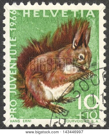 MOSCOW RUSSIA - CIRCA JULY 2016: a post stamp printed in SWITZERLAND shows a red squirrel (Sciurus vulgaris) the series