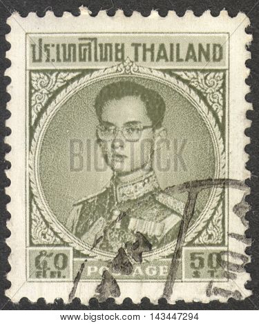 MOSCOW RUSSIA - CIRCA JULY 2016: a stamp printed in THAILAND shows a portrait of the King Bhumibol Adulyadej the series