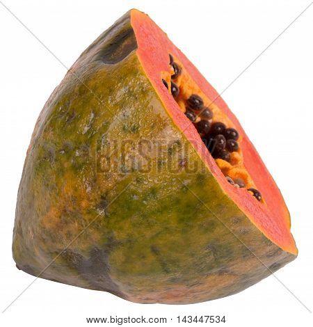 Exotic tropical fruit papaya isolated on a white background, vegetarian