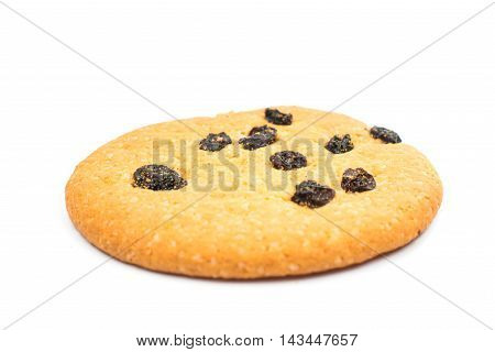Cookies with raisins isolated on white background