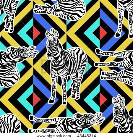 Abstract hand painted seamless animal background. Zebra pattern on geometric. Vector.